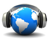 Earth with headphones — Stock Photo