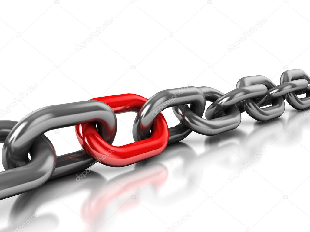Abstract 3d illustration of chain with one red link over white background — Foto Stock #4586942