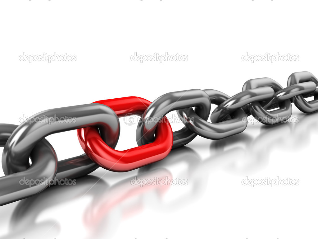 Abstract 3d illustration of chain with one red link over white background — 图库照片 #4586942