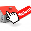 House and mouse cursor — Stock Photo