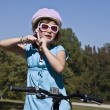 Girl Getting Ready to Ride Bike — Stockfoto