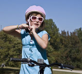 Girl Getting Ready to Ride Bike — Stock Photo