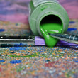 Paint Brushes and Canvas — Stock Photo
