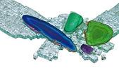 драгоценных камней и битое стекло — Стоковое фото