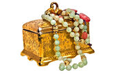 Golden Jewelry Box with Necklaces — Stock Photo