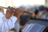 Flute player — Stock Photo