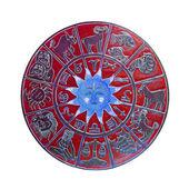 Red horoscope wheel — Stock Photo