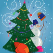 Royalty-Free Stock Vector Image: Snowman with gift bag and Christmas tree