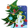 Snowman with ball and Christmas tree — Stock Vector