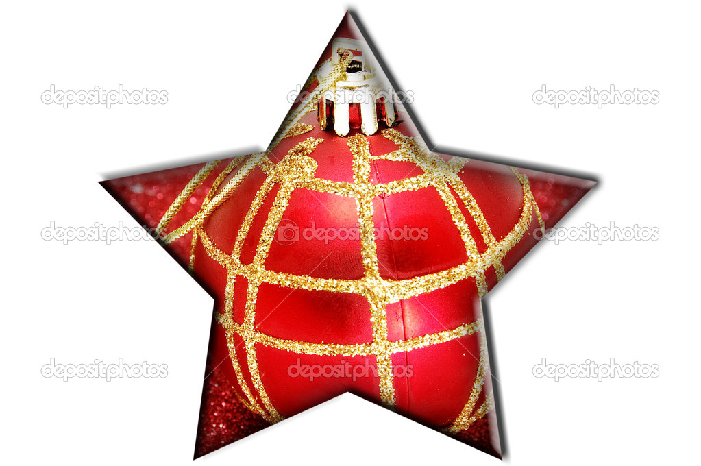 A red and golden christmas inside a strar on a white background  — Stock Photo #3938018