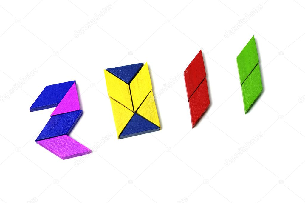 2011 written with tangram pieces isolated on a white background — Stock Photo #4073194