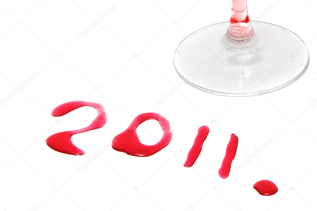 2011 drawing with wine on a white background  Stock Photo #4073197
