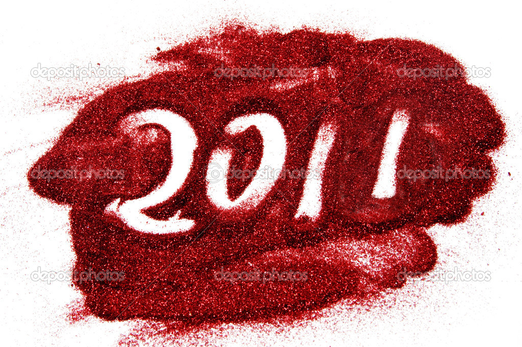 2011 drawing with glitter on the white background — Stock Photo #4073205