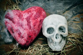 Skull and a heart — Stock Photo