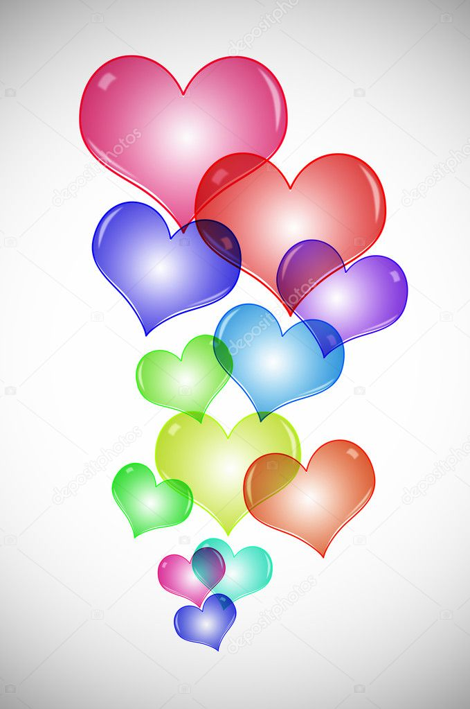 Hearts of different colors drawn on a white background — Stock Photo #4165022
