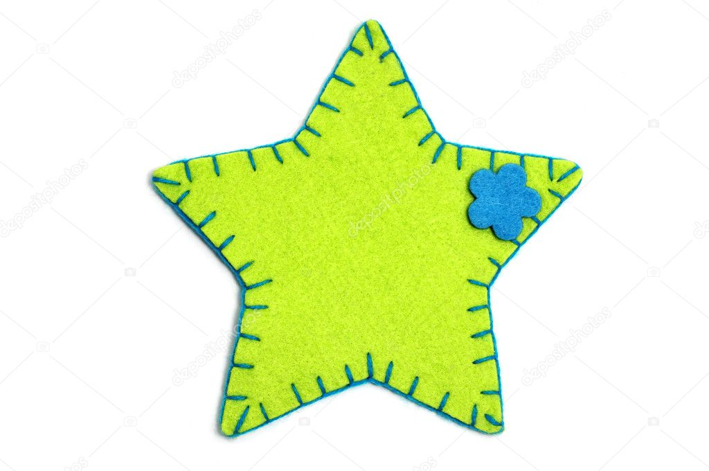 A fabric christmas star on a white background  — Stock Photo #4207932
