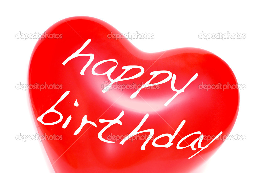 Happy birthday written in a heart-shaped balloon on a white background — Stock Photo #4335016