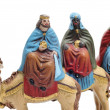 Royalty-Free Stock Photo: Figures representing the three kings in a nativity scene on white backgroun