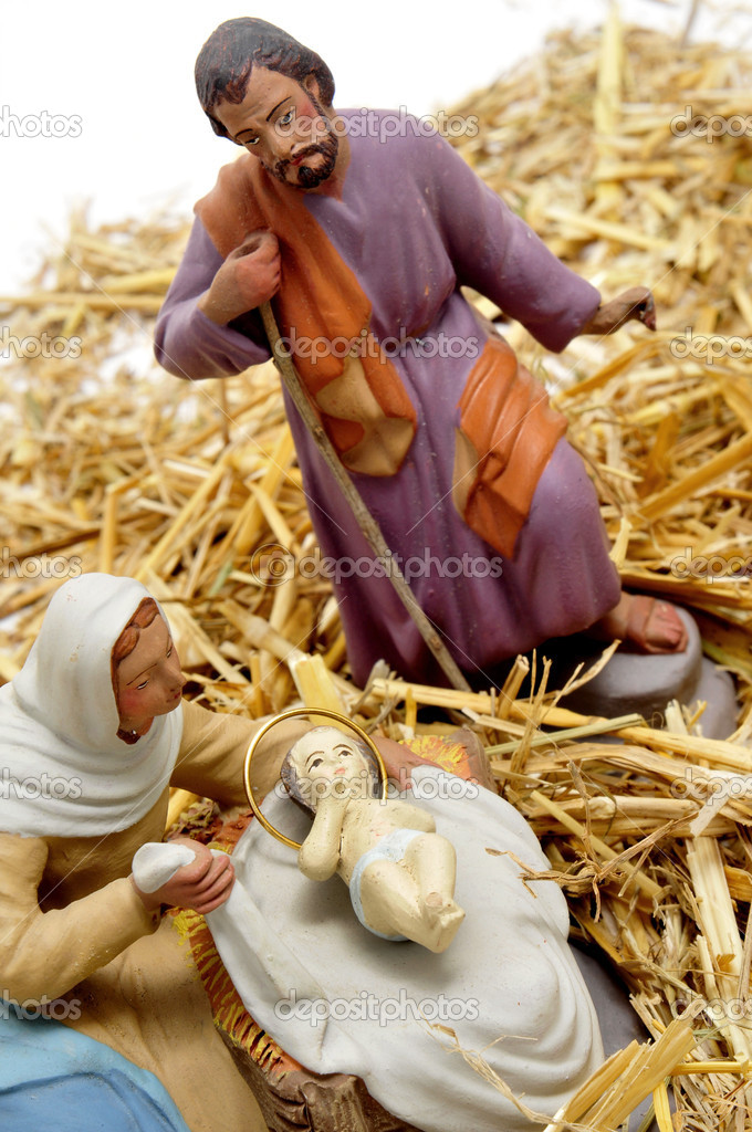 Figures representing nativity scene on white background — Stock Photo #4440314