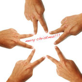 Merry christmas written on a white background with hands drawing a star — Stock Photo