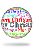 Merry christmas written in different colors and different types in a sphere — Stock Photo