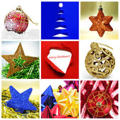 A collage of nine pictures of different christmas itmes — Stock Photo