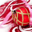 Stock Photo: Red and golden christmas ball with red glitter on white background