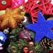 A pile of different christmas ornaments as a centerpiece — 图库照片