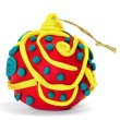 Foto Stock: Christmas ball made with modelling clay on white background