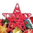 A pile of different christmas ornaments on a white background — ストック写真