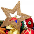 A pile of different christmas ornaments on a white background — Stock Photo