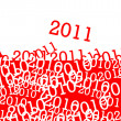 2011 red and white drawn on a red and white background — Stock Photo