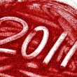 2011 written with red glitter — Stock Photo