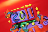 2011 in a design made with modelling clay — Stock Photo