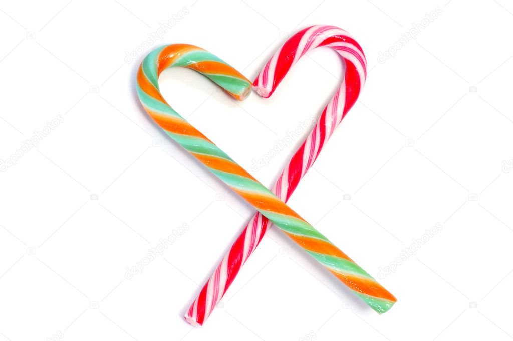 Two candy canes forming a heart isolated on a white background  Stock Photo #4593170