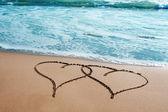 Hjärtan i sanden — Stockfoto