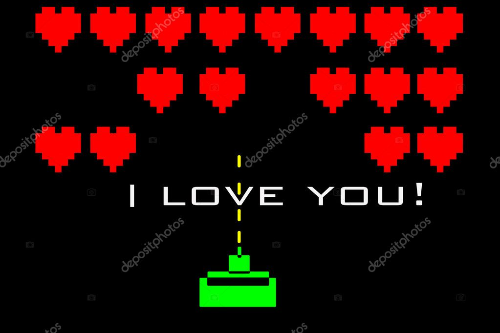 I love you and hearts on a videogame style background  Stock Photo #4680771
