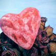 Heart and dried roses bouquet — Stock Photo
