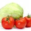 Iceberg lettuce and tomatoes — Stock Photo