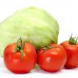 Iceberg lettuce and tomatoes — Stock Photo