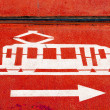 Tram lane sign - Stok fotoraf
