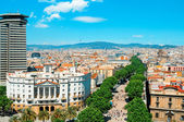 Aerial view of La Rambla of Barcelona, Spain — Stock Photo