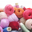 Spools and balls of yarn — Stock Photo
