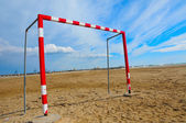 Football goal in the beach — Stock Photo
