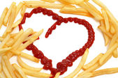 French fries love — Stock Photo