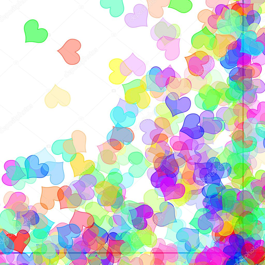 Hearts of different colors drawn on a white background  Stock Photo #5183683