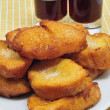 Torrijas, typical Lent spanish sweet, and moscatel — Stock Photo #5285357