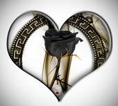 Black rose heart — Stock Photo
