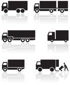 Vrachtwagen of bestelwagen vector symboolset. — Stockvector