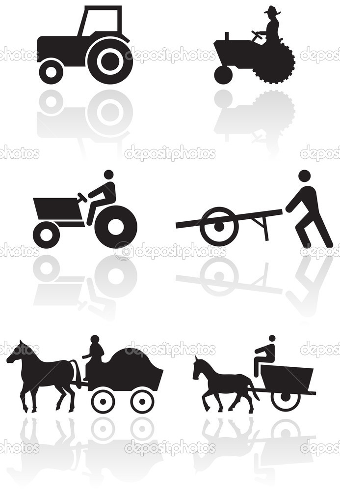 Vector set of different farmer symbols. All vector objects are isolated and grouped. Colors and transparent background color are easy to adjust.  Stock Vector #4351392